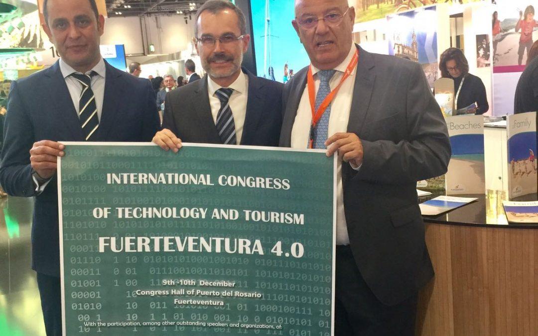 """El I Congreso Internacional Fuerteventura Turismo 4.0 """"Open Mind"""" se promociona en la `World Travel Market´ de Londres"""